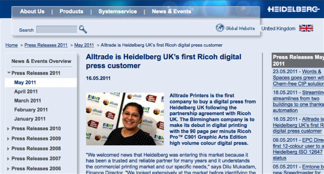 Alltrade is Heidelberg UK's first Ricoh digital press customer